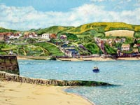 Reproduction landscape paintings - Swanage Bay in Dorset, UK