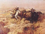 Charles M Russell Indian Buffalo Hunt