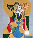 Pablo Picasso Seated Woman in Yellow and Green Hat.
