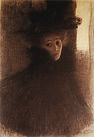 Lady with Cape and Hat, Three-Quarter View from the Right, 1897/98 - Gustav Klimt