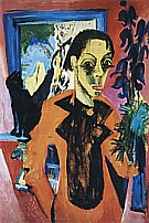 Ernst Kirchner Self-Portrait with a Cat, 1919/20
