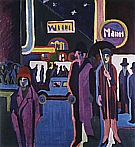 Ernst Kirchner Street Scene at Night, 1926-27
