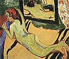 Ernst Kirchner Reclining Nude with Pipe, 1909/10