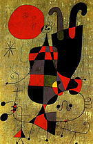 Painting (Figures and Dog in Front of the Sun) 1949 - Joan Miro