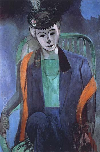 Portrait of Mme Matisse 1913 - Matisse reproduction oil painting