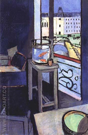 Interior with a Goldfish Bowl 1914 - Matisse reproduction oil painting