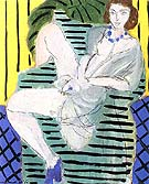 Matisse Woman in an Armchair on a Blue and Yellow Background 1936
