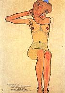 Seated Female Nude with Raised Right Arm. 1910 - Egon Scheile