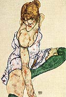 Blonde Girl in Green Stockings, 1914 - Egon Scheile