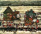 Egon Scheile Houses with Laundry (Suburb II) 1914