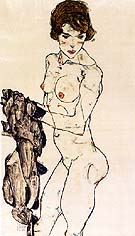 Egon Scheile Standing Female Nude with Blue Cloth, 1914