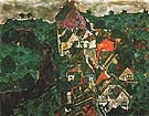 Kruman Landscape (Town and River) 1915-16 - Egon Scheile reproduction oil painting