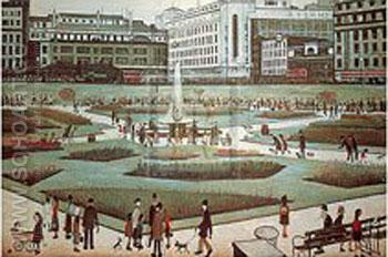 Piccadilly Gardens - L-S-Lowry reproduction oil painting