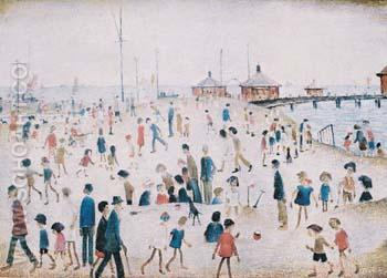 At the Seaside - L-S-Lowry reproduction oil painting