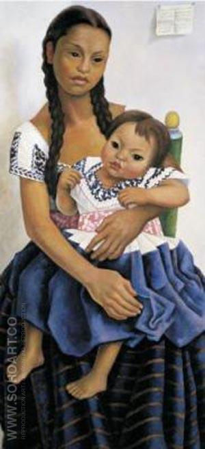 Portrait of Delfina Flores - Diego Rivera reproduction oil painting