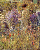 Lady in a Garden 1912 - Frederick Carl Frieseke reproduction oil painting