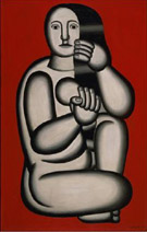 Nude on a Red Background (Seated Woman) 1927 - Fernand Leger reproduction oil painting