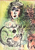 Clown with Flowers - Marc Chagall