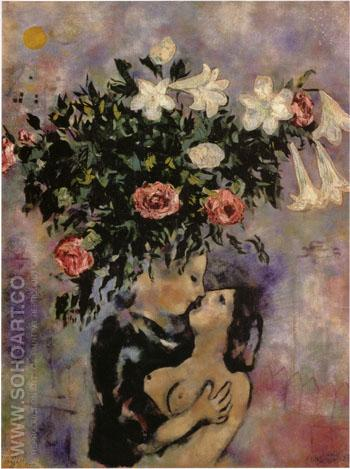 Lovers Under Lilies 1922 - Marc Chagall reproduction oil painting