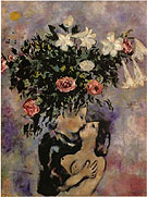 Lovers Under Lilies 1922 - Marc Chagall