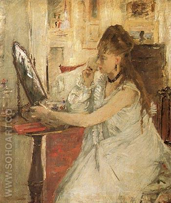 Young Woman Powdering her Face 1877 - Berthe Morisot reproduction oil painting