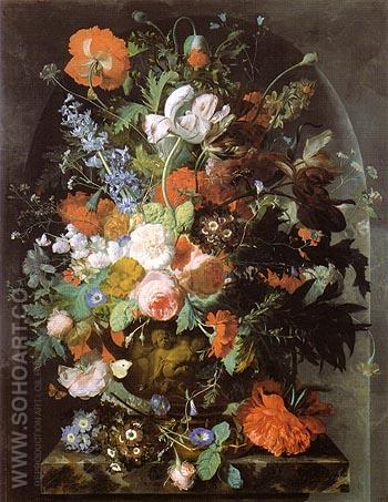 Vase of Flowers in a Niche c1732 - Jan Van Huysum reproduction oil painting