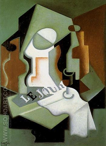 Bottle and Fruit Dish 1919 - Juan Gris reproduction oil painting