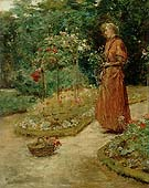 Woman Cutting Roses in a Garden 1888 - Childe Hassam reproduction oil painting