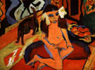 Girl with Cat Franzi P 1910 - Ernst Kirchner reproduction oil painting