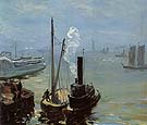 Tugboat and Lighter 1904 - William Glackens reproduction oil painting