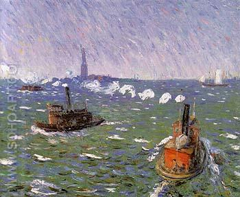 Breezy Day Tugboats New York Harbor 1910 - William Glackens reproduction oil painting