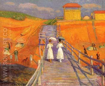 Cape Cod Pier 1908 - William Glackens reproduction oil painting