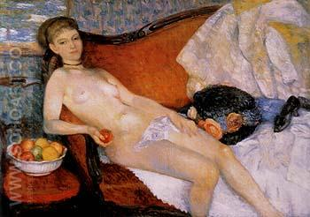Nude With Apple 1910 - William Glackens reproduction oil painting