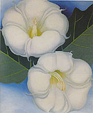 Georgia O'Keeffe Two Jimson Weed with Green Leaves and Blue Sky 1958