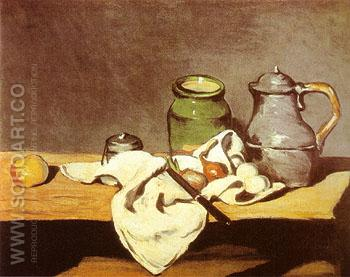 Green Pot Tin Kettle 1869 - Paul Cezanne reproduction oil painting