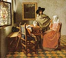 A Lady Drinking and a Gentleman - Johannes Vermeer