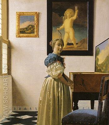 Lady Standing at a Virginal 1670 - Johannes Vermeer reproduction oil painting
