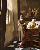 Lady writing a Letter with Her Maid 1671 - Johannes Vermeer reproduction oil painting