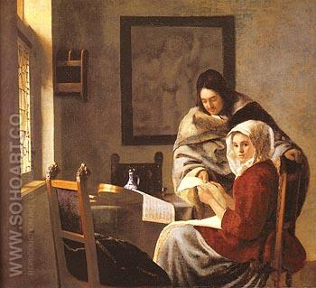Girl Interrupted at Her Music - Johannes Vermeer reproduction oil painting