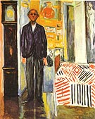 Self-Portrait: Between Clock and Bed c1940 - Edvard Munch