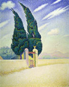 Two Cypresses, Mistral, Opus 241 1893 - Paul Signac