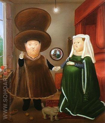 The Arnolfini Marriage after van Eyck 1978 - Fernando Botero reproduction oil painting