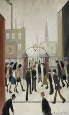 Outside the Factory Gates - L-S-Lowry reproduction oil painting