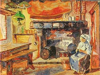 Brittany Kitchen 1911 - Emily Carr reproduction oil painting