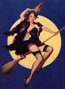 Witch on a Broomstick Riding High - Pin Ups