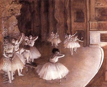Ballet Rehearsal on the Stage 1874 - Edgar Degas reproduction oil painting