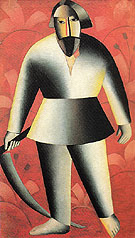 Kasimir Malevich Reaper against a Red Background c1912