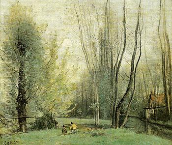 Morning Near Beauvais 1855 - Jean-baptiste Corot reproduction oil painting