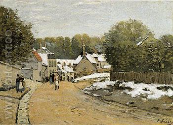 Early Snow at Louveciennes c1870 - Alfred Sisley reproduction oil painting