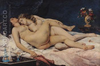 Le Sommeil Sleep 1886 - Gustave Courbet reproduction oil painting